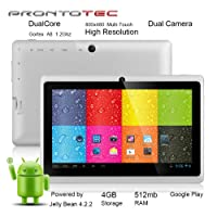 "ProntoTec 7"" Android 4.2 Tablet PC, Cortex A8 1.2 Ghz Dual Core Processor,512MB / 4GB,Dual Camera,HDMI,G-Sensor (White) by ProntoTec"