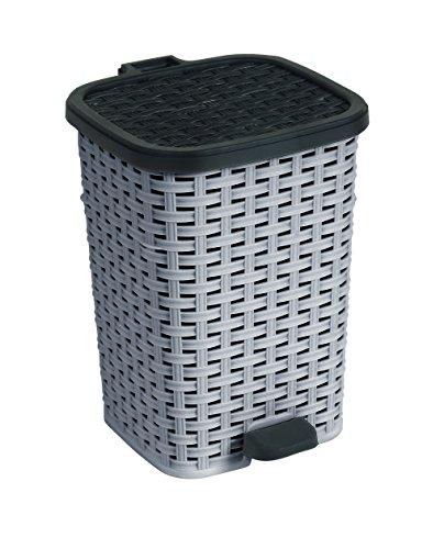 6.8-Gal. Rattan Compact Trash Bin Color: Grey and Black (Step Trash Can 5 Gallon compare prices)