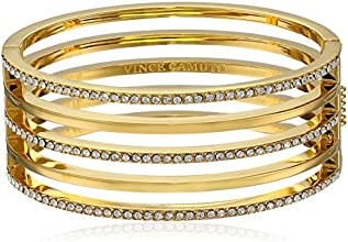 Vince Camuto Gold Open Cut Out Pave Hinge Bangle Bracelet