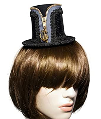 Zking Women Steampunk Lolita Sequined Mini Top Cosplay Cocktail Hat
