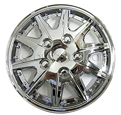 "Chrome 14"" Hub Caps Full Wheel Rim Covers w/Steel Clips (Set of 4) - KT-927-14"