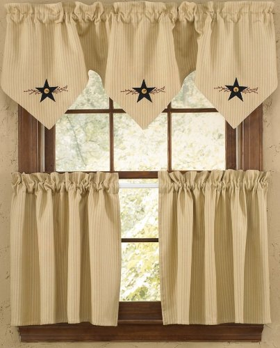Star Vine Country Lined Curtain Tiers from Amazon!