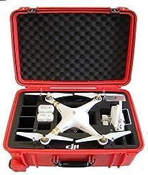Microraptor Pro Cases Phantom 3 Rolling Transport Case designed to fit the Advanced & Professional Editions DJI PHANTOM 3 (Orange Case, Black Foam)