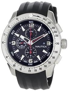 Nautica Men's N17591G NST 101 Black Resin Black Dial Watch
