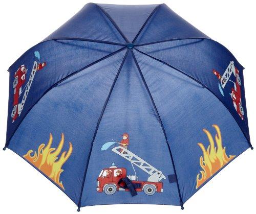 Playshoes Jungen Regenschirm 448590 Feuerwehr Design, One size, Blau (original) -
