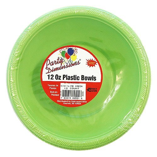 Party Dimensions 80521 12 Count Plastic Bowl, 12-Ounce, Lime Green