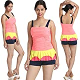 Appealing Multi Colour Two Piece Bathing Suit BoyLeg Bottom Tankini_FLPLAMCTPBSBBT001_Free Size
