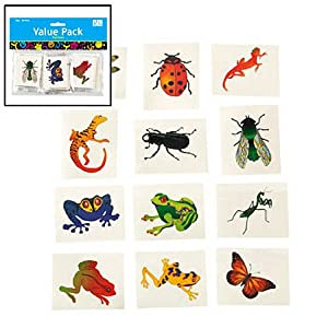 Nature Temporary Tattoos - Insects and Reptiles (6 dz)