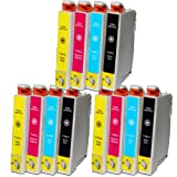 12 18XL Compatible Ink Cartridges for Epson Expression Home XP102 XP202 XP212 XP215 XP205 XP30 XP302 XP305 XP312 XP315 XP402 XP412 XP415 XP405 XP405WH Printers 3 Black 3 Cyan 3 Magenta 3 Yellow