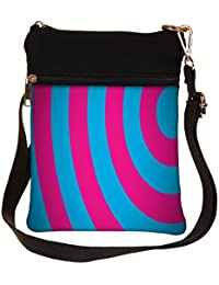 Snoogg Red And Blue Circles Cross Body Tote Bag / Shoulder Sling Carry Bag