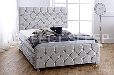 Crushed Velvet Upholstered Bed- 2ft6, 3ft, 4ft, 4ft6, 5ft - Available in 9 stylish colours! (5ft Kingsize, SILVER CRUSH)