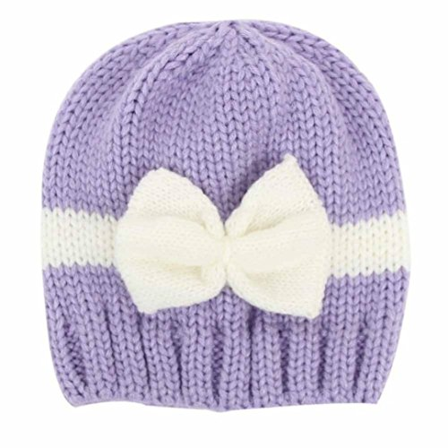 Tenworld Newborn Unisex Baby Winter Warm Knit Hat Cap Photo Prop Outfits (Purple)