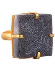 GJ Creation Gold Plated Druzy Studded Ring For Women - B00N8Q503A