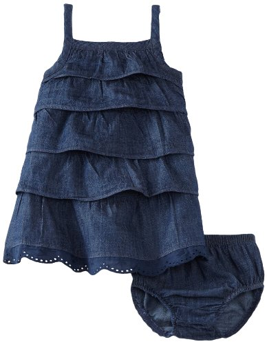 Calvin Klein Baby-girls Infant Denim Ruffled Dress with Panties, Navy, 24 Months