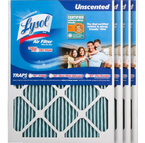 """Lysol Triple Protection Furnace/AC Air Filter, 16"""" x 20"""" x 1"""", 4-Pack"""