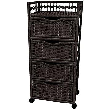 Oriental Möbel 96,5cm Rattan Stil Natur Faser Kommode mit 4Schubladen mit Lenkrollen, schwarz