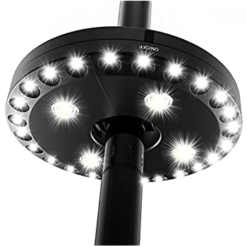 QPAU Patio Umbrella Light, 3 Lighting Modes Cordless 28 LED Lights at 200 Lumens Battery Operated Umbrella Pole Light for Patio Umbrellas, Camping Tents or Outdoor Use