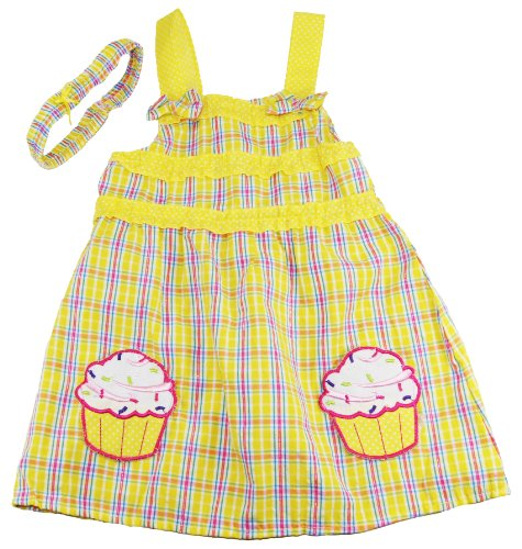 Coney Island Little Girls Cupcake Sleeveless Sundress With Headband Set front-873864
