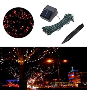 [Promotion] Red Solar Powered Indoor and Outdoor Fairy String Lights Solar Light Strings 11M 60 Leds Light Strings for Home Decoration Birthday Party Christmas