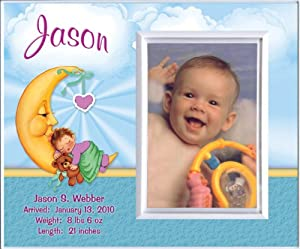 New Baby Boy Moon Personalized Birth Announcement Keepsake Picture Frame Gift