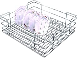 Now & Ever Stainless Steel Kitchen Plate-Holder Basket, 21x20x6 inches, Silver, 1-piece