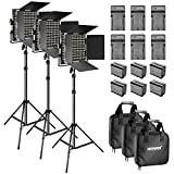 Neewer 3-Pack Dimmable Bi-color 660 LED Video Light with Barndoor and 6.5 feet Light Stand, 6-Pack Rechargeable 6600mAh Li-ion Battery and Charger Lighting Kit for Photo Studio YouTube Video Shooting