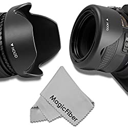49MM Reversible Flower Lens Hood (2013 Update) for SONY Alpha A3000, NEX (NEX-3 NEX-5N NEX-7 NEX-F3 / 55-210mm Lenses + Premium MagicFiber Microfiber Cleaning Cloth