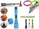 New Version 3D Printing Pen, Intelligent 3D Pen With LCD Screen & 2pcs Filament Refills(Blue)