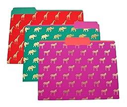 Gold Zebra, Giraffe, and Elephant File Folders (Set of 9)