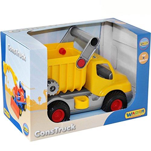 Muldenkipper-mit-beweglicher-Kippmulde-und-Gummireifen-29-x-16-cm-Klein-Kinder-Auto-Kipper-LKW-Baufahrzeug-Sandkasten-Spielzeug-Fahrzeuge