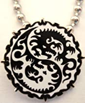 Yin Yang Dragon MMA Mixed Martial Arts Karate Pendant Necklace w/ball chain