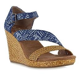 TOMS Women\'s Clarissa Wedge Blue Batik Textile/Wrapped Sandal 6.5 B (M)