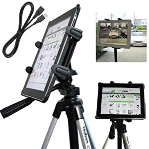 ChargerCity Vibration-Free 7 to 12 inch Screen Tablet Tripod Video Camera Photo Booth Mount with 1/4-20 Thread Adapter & 360° Degrees Angle Adjustment Holder for Apple iPad Air PRO MINI Samsung Galaxy 7.7 8 10.1 12 Note S Microsoft Surface 4 Slate. **Bundle also included a 10' FT USB Extension Cable** (IPAD & Tripod is not included with purchase)