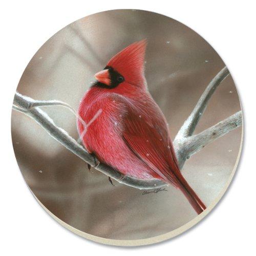 CounterArt Decorative Absorbent Coasters, Winter Cardinal, Set of 4