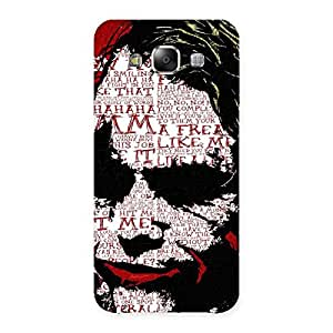 Cute Insane Writing Back Case Cover for Samsung Galaxy E5