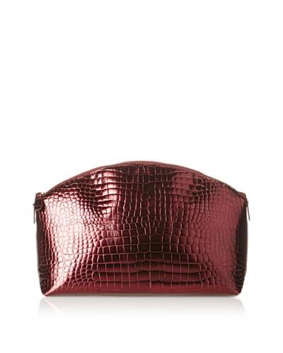 AEON Women's Large Cosmetic Case, Red Metallic Croc