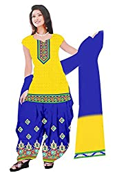 Dharmnandan Fashion Panghat Lemon color Cotton Woman's Fancya Dress Material