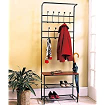 Entryway Metal  Storage Bench with Coat Rack