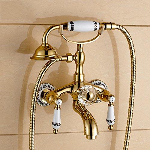 CAC A caldo e a freddo di rame montati a parete Vintage europeo Golden rubinetto doccia Vasca da bagno Doccia rubinetto