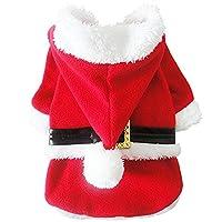 NACOCO Pet Holiday Christmas Costumes Dog Santa Claus Suit Dog Warm Hoodies Cat Xmas Apparel Winter