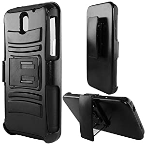 Cell Accessories For Less (TM) For HTC Desire 610 (AT&T) - Heavy Duty Armor Style 2 Case w/ Holster - Black/Black AM2H + Bundle (Stylus & Micro Cleaning Cloth) - By TheTargetBuys