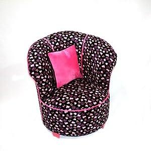 co Kids Tulip Chair Minky Black Skull by Newco Kids