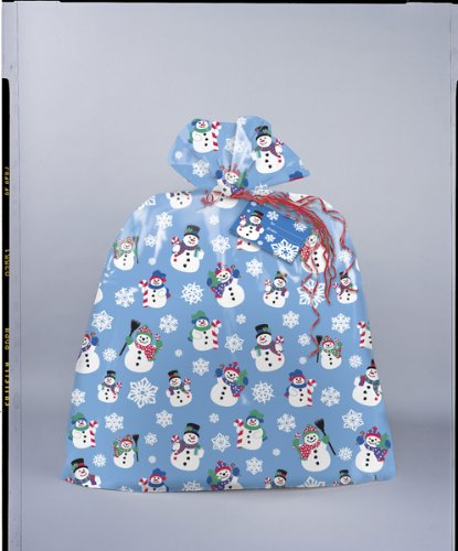 Snowman Large Christmas Plastic Gift Bags
