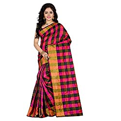 Dealseven Fashion New Black & Pink Colure Tissue Silk Saree