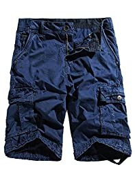 WenVen Men\'s Active Cargo Shorts Cotton Outdoor Wear Lightweight (WV3229 Blue,36)