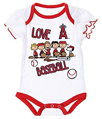 MLB Los Angeles Angels of Anaheim Baby Girls Infants Peanuts Love Baseball Creeper, White