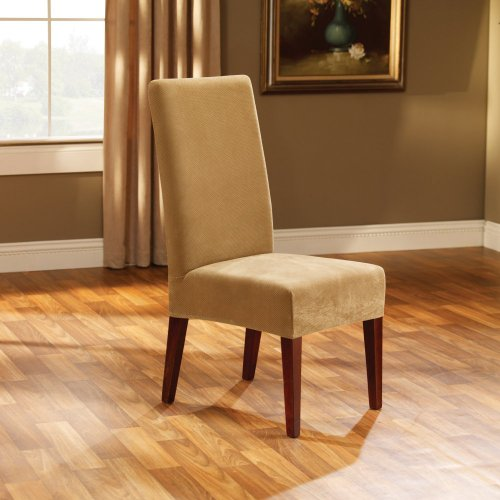 Sure Fit Stretch Pique Shorty Dining Room Chair Slipcover, Antique front-992574