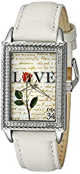 """The P.S. Collection by Arjang and Co. Women's PS-3006S-WH """"Love Letters""""  Mother Of Pearl Dial Cream Leather Strap Watch"""