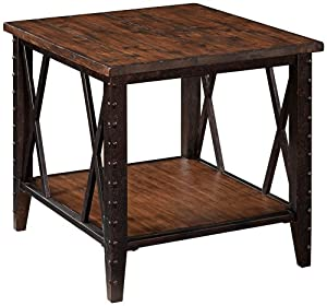 Fleming Rectangular Rustic Pine End Table