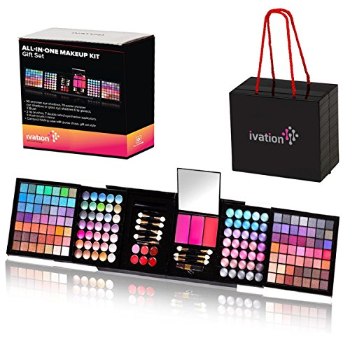 Ivation All-in-One Makeup Kit Gift Set – Contains Truly Vast Collection of Eyeshadows, Blushes, Powders, Eyeliners, Lip Glosses & More – Folds Out from 4.72″ x 5.51″ x 5.51″ Cube